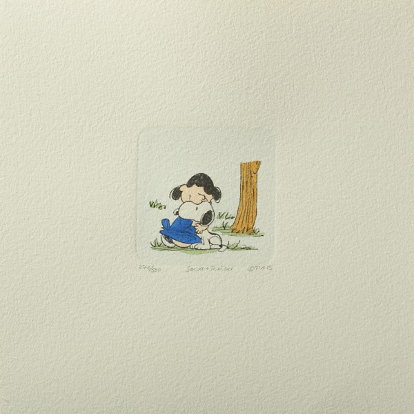 Charles M. Schulz: Peanuts - Lucy van Pelt und Snoopy 03, klein. Original-Radierung
